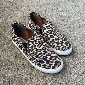 Leopard print slip ons